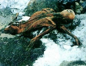Otzi, the Tyrolean Iceman in situ